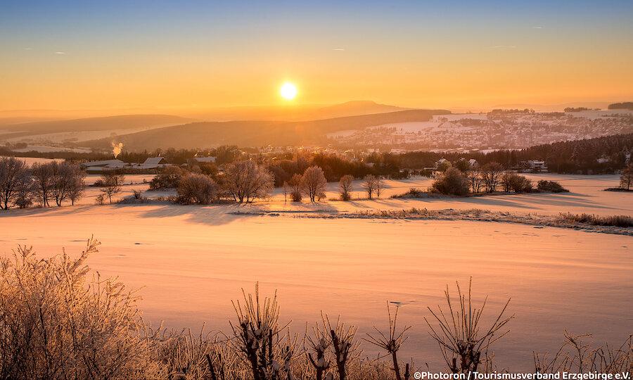 Erzgebirge Pöhlberg im Schnee