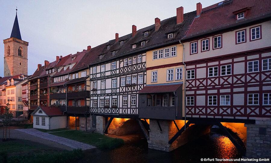 Silvester in Erfurt – Erfurt Kraemerbruecke bei Nacht