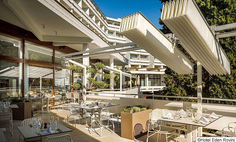 Urlaubsreise Kroatien – Hotel Eden Rovinj Terrasse